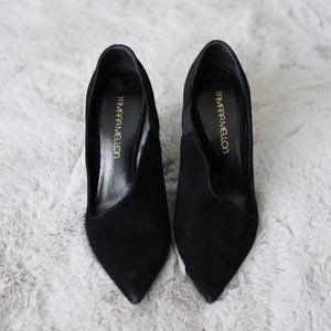 Tamara Mellon Kiss Hard Suede Black Heels SZ 39
